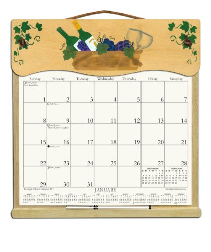 Wooden Refillable Wall Calendar Holder filled with a 2018 calendar and an order form for 2019-WINE BASKET (Gift Basket Order Form)