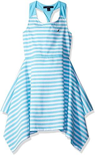 Nautica Girls' Big Stripe Knit Dress with Twist Detail, Aqua 7