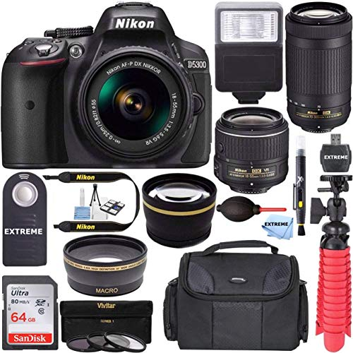 Nikon D5300 24.2 MP DSLR Camera + AF-P DX 18-55mm & 70-300mm NIKKOR Zoom Lens Kit + 64GB Memory + Photo Bag + Wide Angle Lens + 2X Telephoto Lens + Flash + Remote Bundle