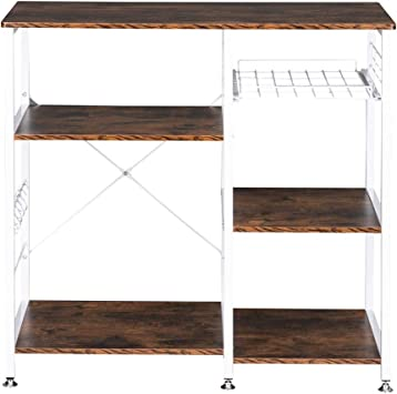 3-Tiers Kitchen Microwave Stand Spice Bakers Rack Rolling Cart W// Storage Hooks