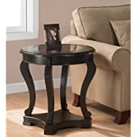Add functional elegance to your home décor with this wood espresso end table. This cocktail table features a tempered glass top, a bottom shelf for storage, and non-mar foot glides. Fits easily in the Foyer, office Living room, or Entryway.