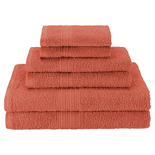 Superior Eco-Friendly 100% Ringspun Cotton, 6 Piece Towel Set in Coral (Set Coral Towel Bath)