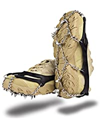 Ice Grippers Cleats Hiking on 12 Teeth Claws Traction Cleats Stainless Steel Chain Anti-Slip Spikes Crampons,M/L
