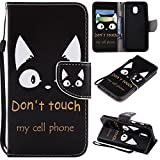 Ostop Colorful Painted Leather Wallet Case for Samsung Galaxy J7 2018,[Kickstand Feature] Funny Alphabet Cat Printed Black PU Magnetic Flip Cover with Card Slots Wrist Strap Shockproof Shell