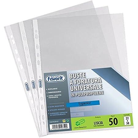 Buste a foratura universale Liscio Super Clear Favorit - Linear 22x30 cm -2 CONFEZIONI DA 50 BUSTE