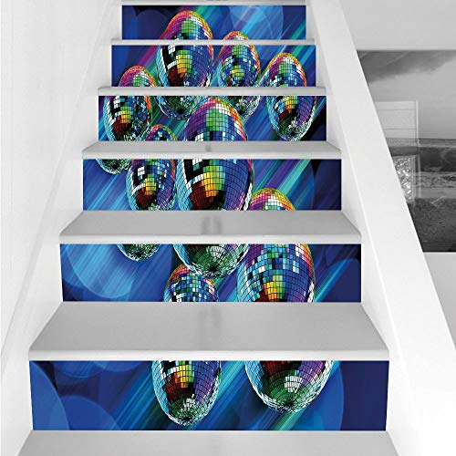 Stair Stickers Wall Stickers,6 PCS Self-adhesive,70s Party Decorations,Colorful Funky Vibrant Disco Balls Abstract Night Club Dancing Theme Decorative,Multicolor,Stair Riser Decal for Living Room, -