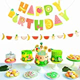 (Set of 3) JeVenis Tutti Frutti Banner Kids 2nd Birthday Party Decoration Supplies Frutti Cake Toppers Summer Baby Shower