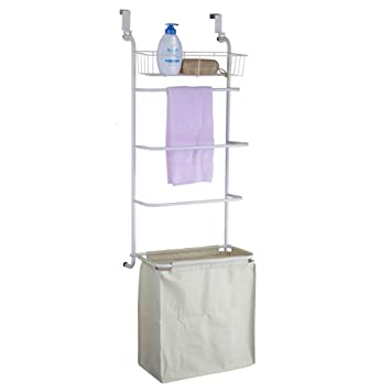 OnDisplay Over The Door Towel Rack And Laundry Hamper