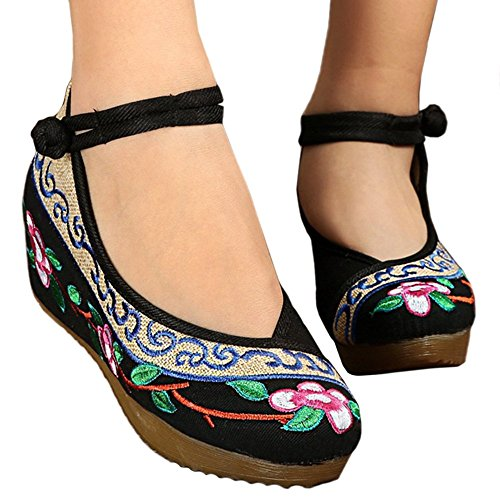Casual Cloth black Shoes Old 36 Embroidered Beijing ZHw5wqI