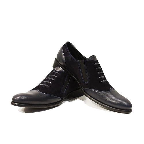 Modello Corrado - Cuero Italiano Hecho A Mano Hombre Piel Azul Marino Mocasines y Slip-Ons Loafers - Cuero Ante - Ponerse: Amazon.es: Zapatos y complementos