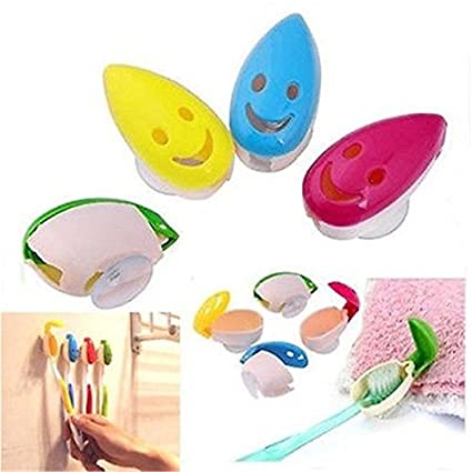 4Pcs//set Bathroom Smile Face Toothbrush Holder Mount With Suction Grip Wall Rack