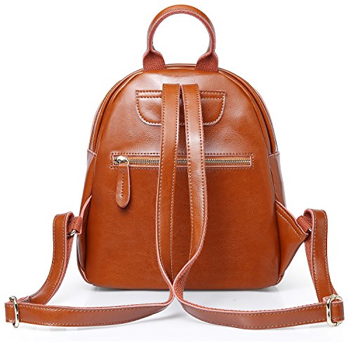 Sling Purse Bag Vintage Mini Leather Shool Soft Genuine Backpack Leather For Travel Brown Women Backpack Cute CXRx6wqSOC