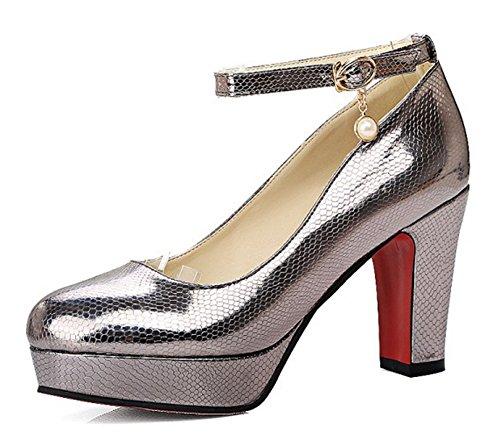 Toe Aisun Chunky Round Elegant Ankle Platform Gun Cut Low Heel Pumps Buckled Shoes Strap With Dressy High Womens qvqrECR