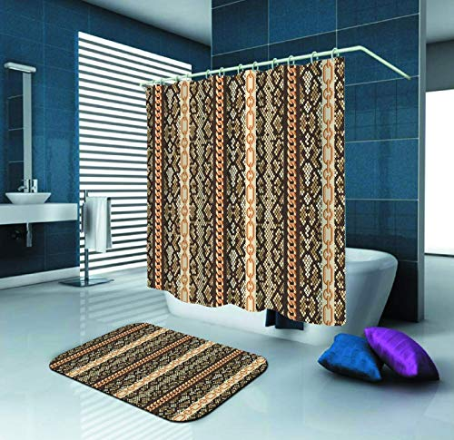 - Gold Chains Snake Skin Animal Pattern Shower Curtain and Waterproof Polyester Fabric Shower Curtain with 12 Hooks and 70