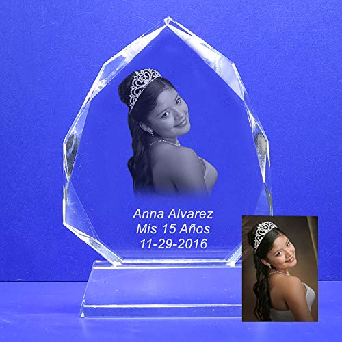 Laser Photo Crystal - Photo Crystal Laser Etched Engraving Personalized Custom Plaque for Quinceañera, Company Logo, Family Photo, Sweet 16 Christmas HL009