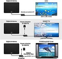 Antena de TV profesional de fibra de carbono de 180 millas Antena de TV interior Antena HD digital 4K HD: Amazon.es: Hogar