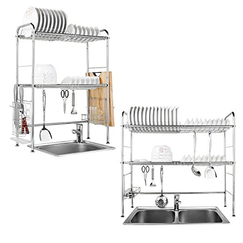 2 Tier Chrome Plated Stainless Steel Dish Drainer For Modern And Contemporary Homes Or Any Office Kitchen