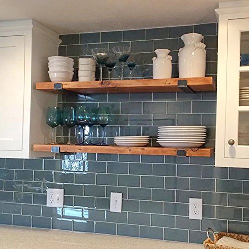 WGX 32'' 2-Tiers Rustic Kitchen Wood Wall Shelf with Metal Bracket Also Multi Use Can Be Used As a Spice Rack Living Room or Bedroom Wall Shelf by WGX