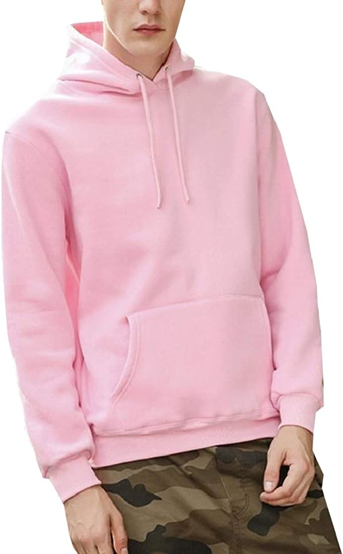 YUNY Mens Plus Velvet Thickening Comfort Relaxed-Fit Solid Pocket Sweatshirt Pink XL