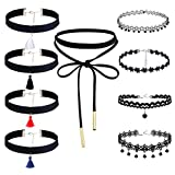 #10: 9 Pieces Choker Necklace Set Stretch Velvet Classic Gothic Tattoo Lace Choker
