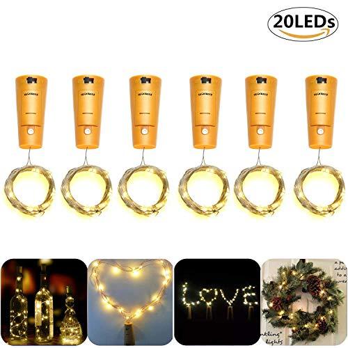 Glückluz Iluminación de Navidad de Interior 20 LEDs Alambre de Tapón de Vino Cadena de Luces Cable de Cobre Impermeable...