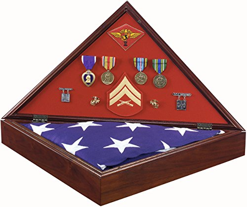 Official Marine Corps Military Shadow Box AMERICAN MADE Flag Case Brass Marines Logo Solid Walnut Personalized Engraved Plaque Made In USA by SpartaCraft