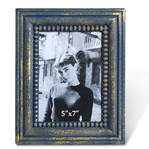 BOLUO 5x7 Vintage Picture Frames Distressed Turquoise Antique Gold Photo Frame Wood Rustic Beaded ()