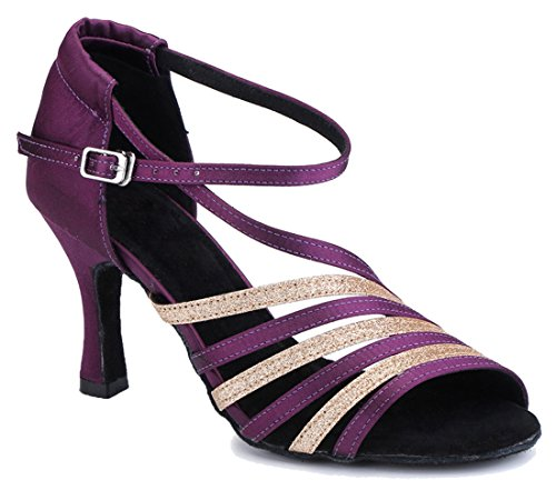 Women's Tango Latin Rumba Peep Salsa Samba MGM Joymod 7 Ballroom Modern 5cm Strap Purple Party Corss Satin Dance Heel Toe Sandals Heel Wedding Glitter Shoes Flared Pf5wZqwO