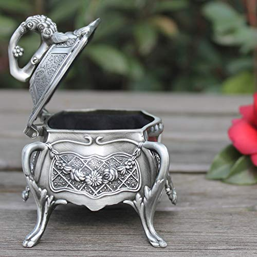 (ZAMTAC Handwork Arrival Metal Jewelry Box with Delicate Flower Pewter Plated Trinket Gift Wedding Decoration Tibetan Silver Brass)