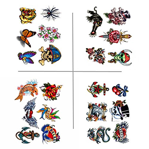 Small Temporary Tattoos for Kids - 23pcs Fake Tattoo Body Art Kit Waterproof for Men Women Boys Girsl (Boy Tattoo Kit)