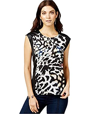 Guess Printed Contrast-Panel Top