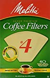 Melitta Cone Coffee Filters No. 4 Unbleached Natural Brown 40...