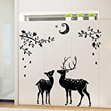 BIBITIME Black Moon Branches Jungle Elk Wall Sticker Baby Deer Decals Animal Decor for Nursery Bedroom Bathroom Outside Glass Door Classic Porch