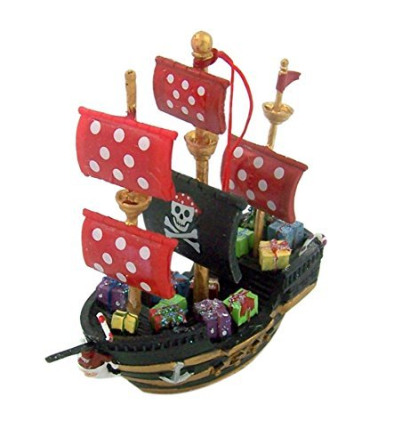 Santa's Pirate Ship Hanging Christmas Ornament Decoration, 3 3/4 Inch (Pirate Christmas Ornament)