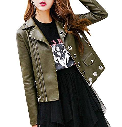 Long Sleeve Rocker Punk Oversized Bomber Jacket Blackish Green XL ()