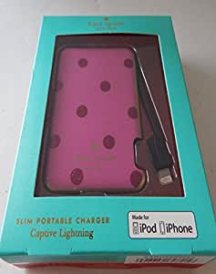 Kate Spade Slim Portable Battery Charger For iPhone 6 & 6 Plus,1500 mph Lighting Cable, Pink/Red Dots