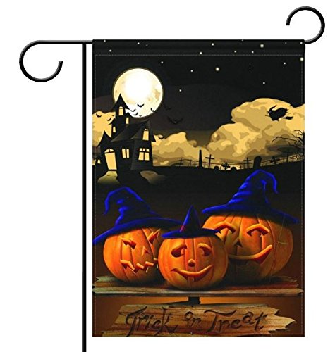 Halloween Trick or Treat Garden Flag 11.5 x 18 inches - Fall and Festive Decor with Pumpkins and Witch by Jolly Jon Products