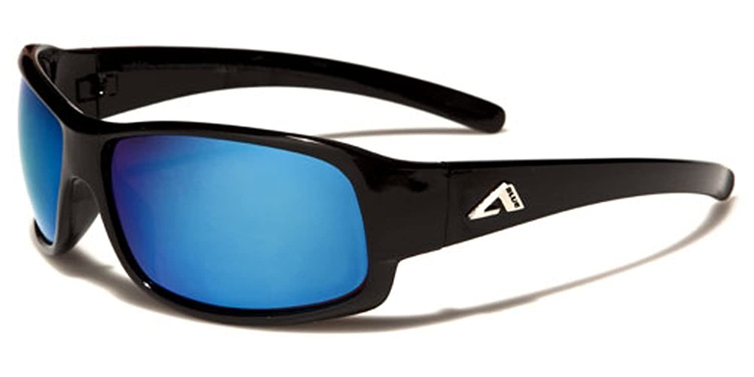 Arctic Blue Mirror Lens Men's Women's Sport Cycling Running Wrap Around Sunglasses
