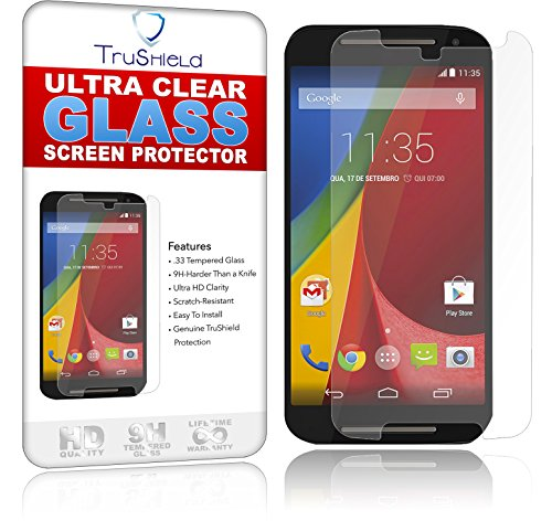 Motorola Moto G2 Screen Protector - Tempered Glass - Package Includes Microfiber Cleaning Wipe, Installation Tips with Video - Retail Packaging - by TruShield