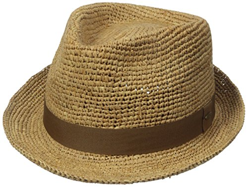 Raffia Fedora Hat (Scala Men's Crochet Raffia Fedora with Ribbon, Tea, Small/Medium)