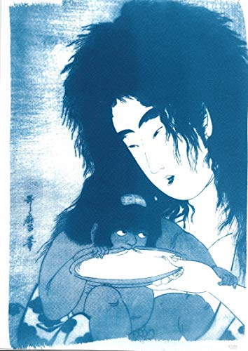 Limited Edition Cyanotype Print, Japanese Ukiyo-e Geisha with Demon