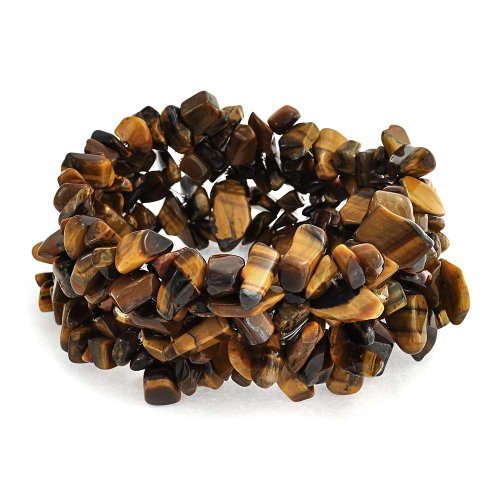 Bling Jewelry Brown Tigers Eye Chip Stone Wide Chunky Cluster Multi Strand Stretch Bracelet for Women