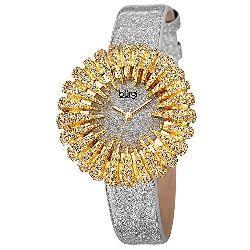 (Burgi Crystal Accented Sparkling Dial Women's Watch - Crystal Filled Bezel On Glossy Leather Strap Watch - BUR112)