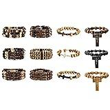 MOWOM 12PCS Alloy Genuine Leather Wood Bracelet Bangle Cross Pentagram Pentacle Bead Mala Elastic Rope Adjustable Set