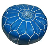 JAKANI Cuir Handmade Moroccan poufs, Real Natural Leather Ottomans, Footstool from Morocco, 100% Handmade, Royal Blue Color, unstuffed