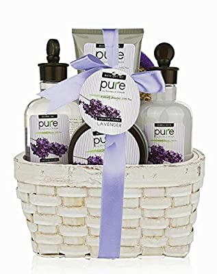 Super Large Lavender Spa Gift Basket with Lavender Essential Oils!Bubble Bath & Body Lotion Gift Set for Women. Christmas Gift Baskets for Women with Lavender Essential Oils! Best Holiday Gift Set