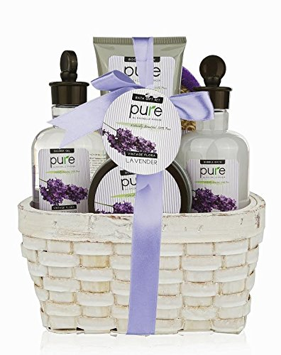 Large Lavender Spa Gift Basket. Spa Gift Basket with Lavender Bubble Bath & Body Lotion etc.