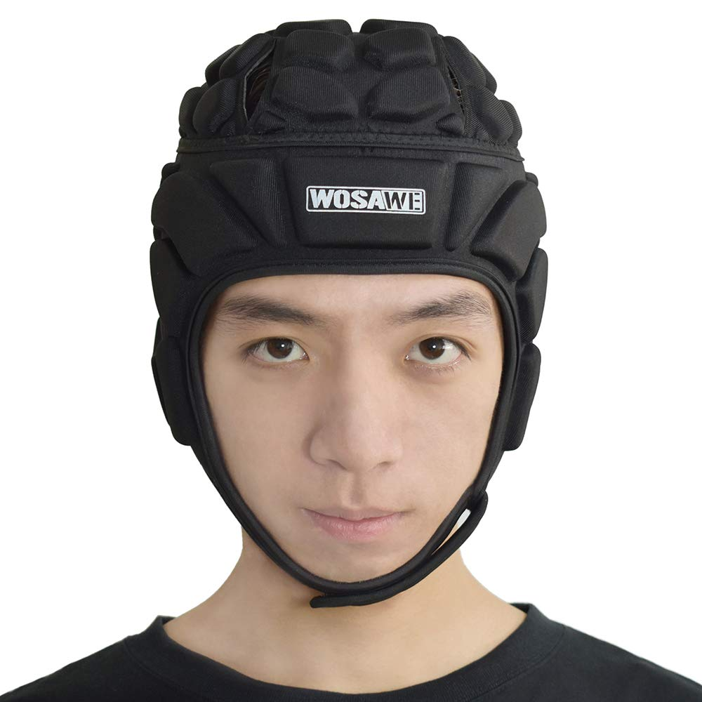 WOSAWE Goalkeeper Helmet Thickened EVA Padded Rugby Protector Adjustable Breathable Head Guard Gear for Soccer Football Skateboard Roller Skating