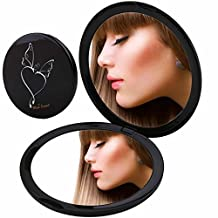 Miss Sweet Compact Mirror Purse Mirror Travel Mirror Compact for Beauty Makeup True image&10X magnification (Black)