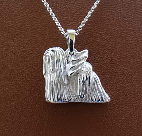 - Large Sterling Silver Lhasa Apso Angel Pendant